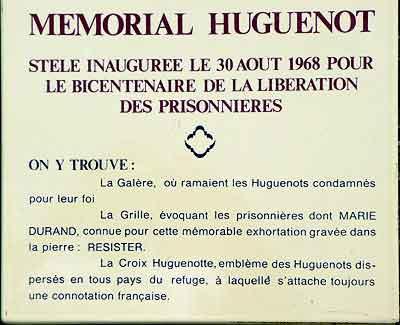 plaque du mémorial Huguenot de Sète